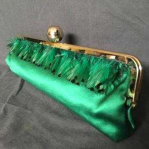 Kate Spade NY Emerald Green Ostrich Feather Clutch